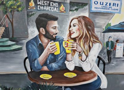 Couple drinking coffee in West End, West End Mural, Ray White Office. Kat's Mural Art, Kat Smirnoff