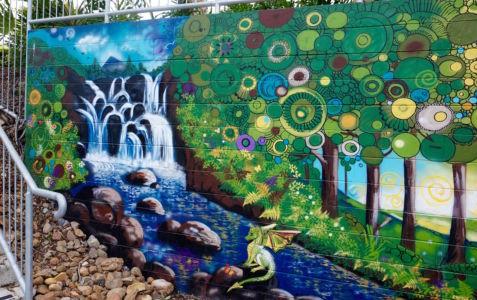 Dragon by the waterfall_Kat's Mural Art_Kat Smirnoff