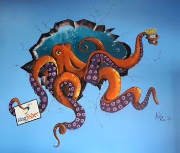 Kingfisher Seafood Cafe Octopus 2 by Kat Smirnoff_Kat's Mural Art